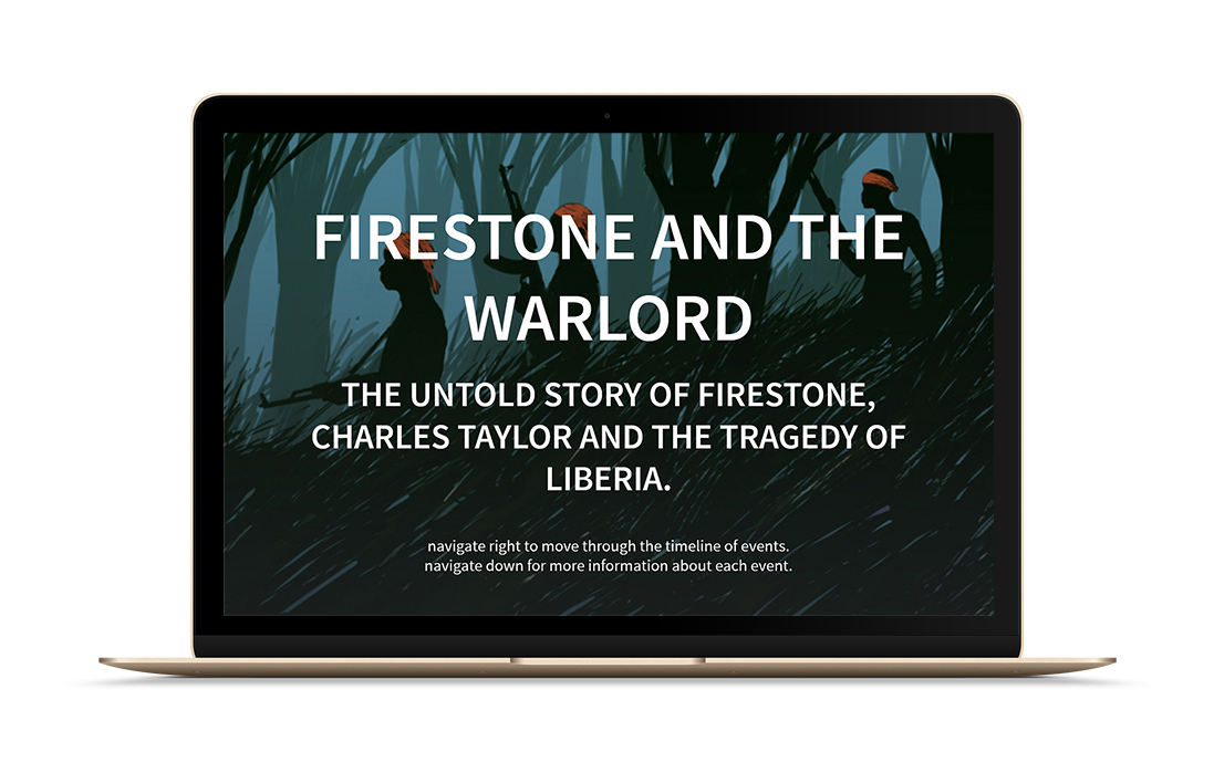A screengrab of Firestone and The Warlord, a journalistic interactive timeline.