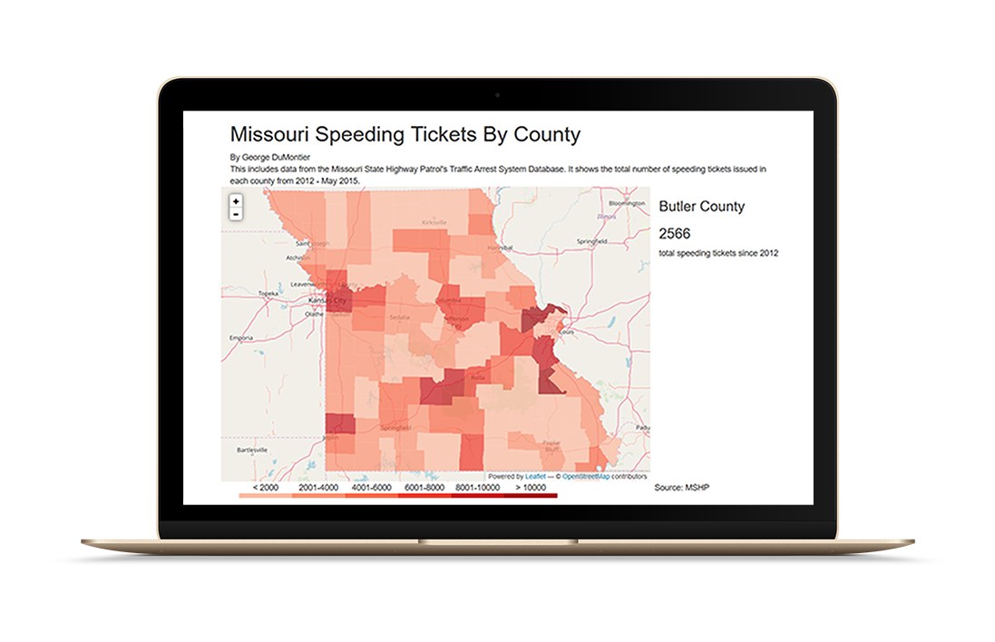 A screengrab of d3 map of speeding tickets in Missouri.