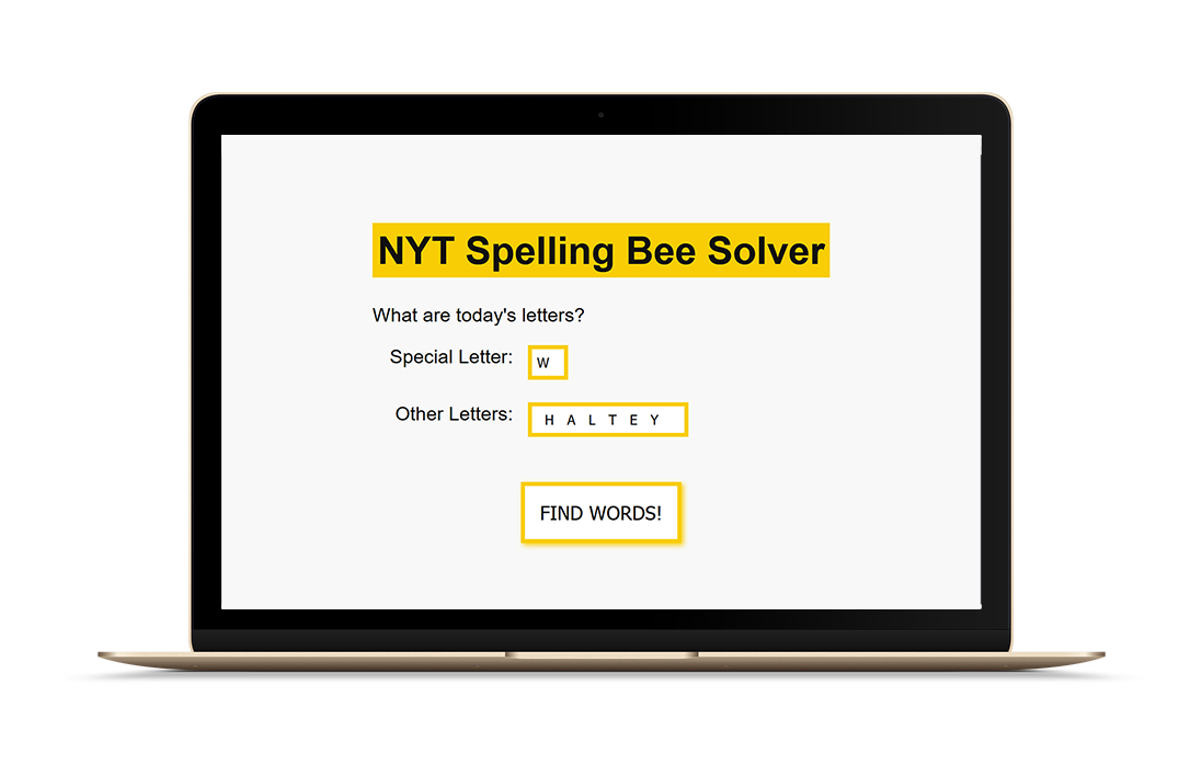A screengrab for an app that solves the NYT spelling bee game.
